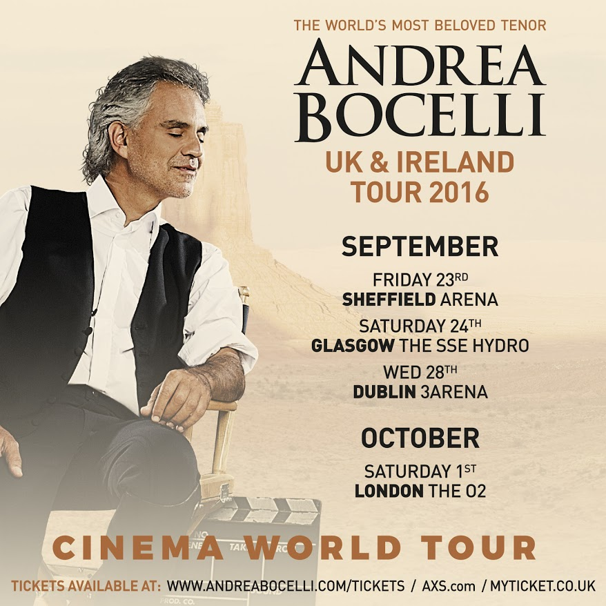 Andrea Bocelli to tour the UK and Ireland in 2016