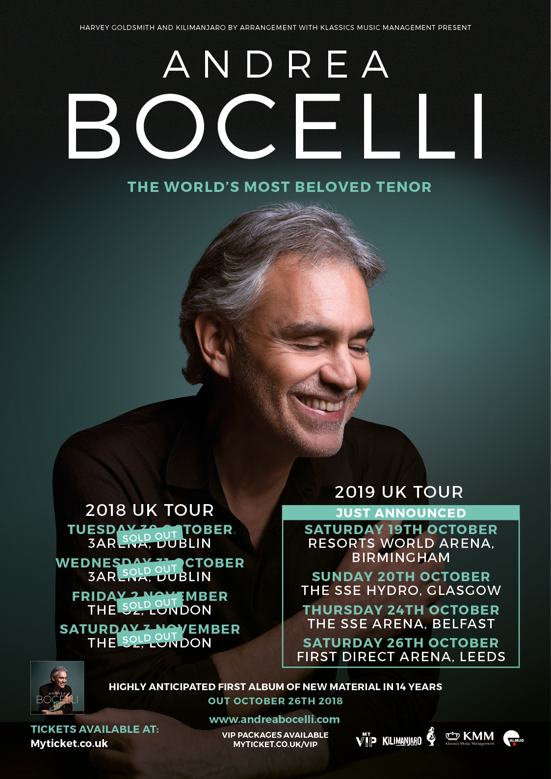ANDREA BOCELLI ANNOUNCES  UK RETURN IN 2019!